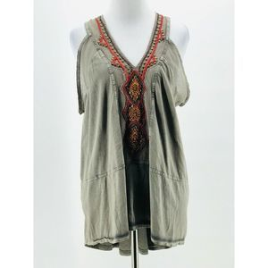Free People Gray Green Embellished Blouse XS